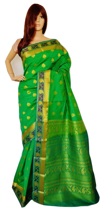 Green,Pink & Gold Kanchipuram Silk Saree