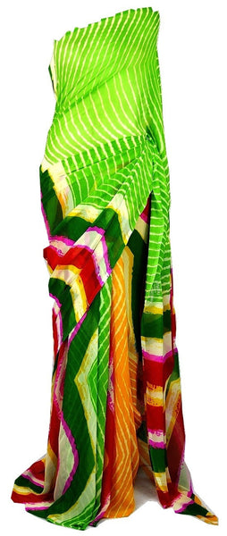 Gorgeous Green & Yellow Mansa Georgette Saree