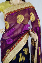 Dark Blue & Plum Stone Work Do Pal Jeard Saree