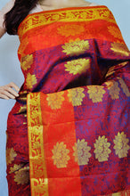 Maroon & Orange Colour Kanchipuram Silk  Saree