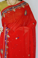 Gorgeous Bright Red,Purple & Stones,Net Party Saree