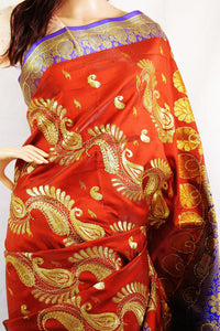 Maroon Colour Sequins Work Banaras Silk Saree