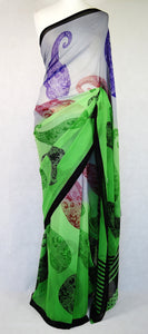 Gorgeous Green & Purple Branded Georgette Saree