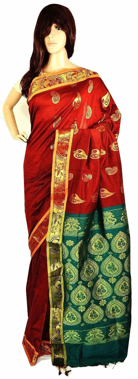 Maroon,Green & Gold  Cotton Mix Silk Saree