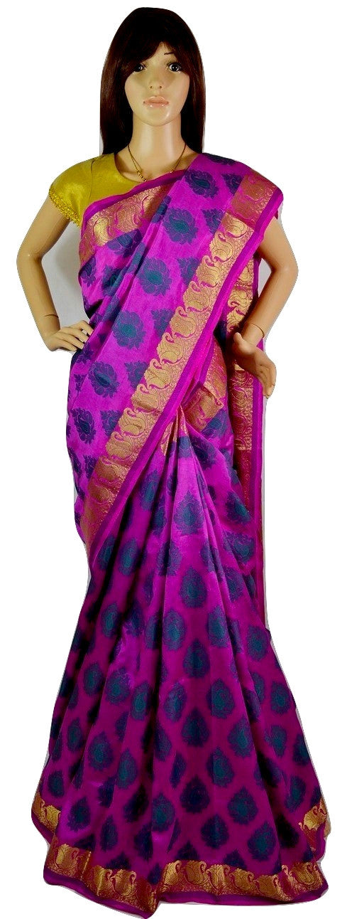 Beautiful  Magenta & Gold Raw Silk Saree