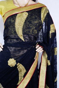 Latest Black,Red  And Gold  Party Saree