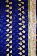 Dark Blue & Wine Stone Work Do Pal Jeard Saree