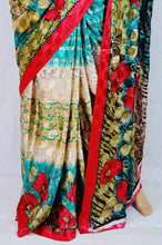Red,Green & Cream Colour Balika Vadha Crepe Silk Saree