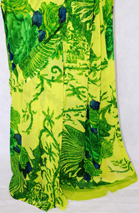 Beautiful Green Colour Flower Print  Monalisha  Saree