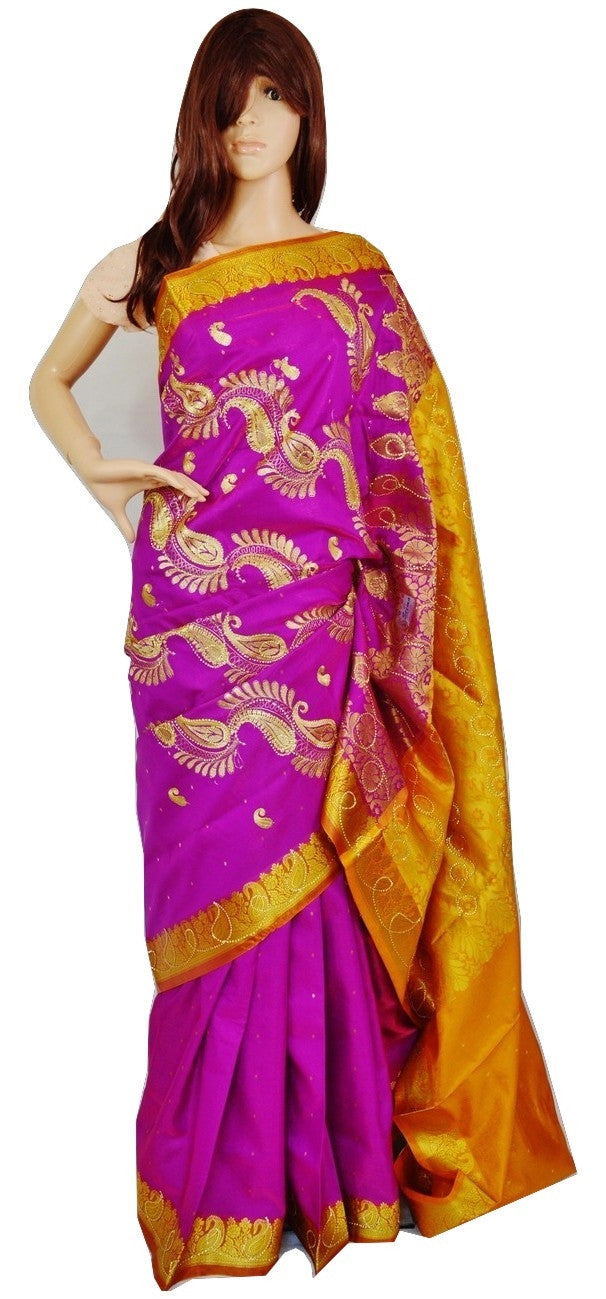 Fuchsia & Mustard Sequins Work Banaras Silk Saree