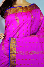 Pink & Purple Stone Work Kanchipuram Silk Saree