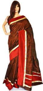 Brown ,Maroon & Gold Art Matka Silk Saree