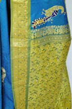 Turquoise Colour Peacock Design Kanchipuram Silk  Saree
