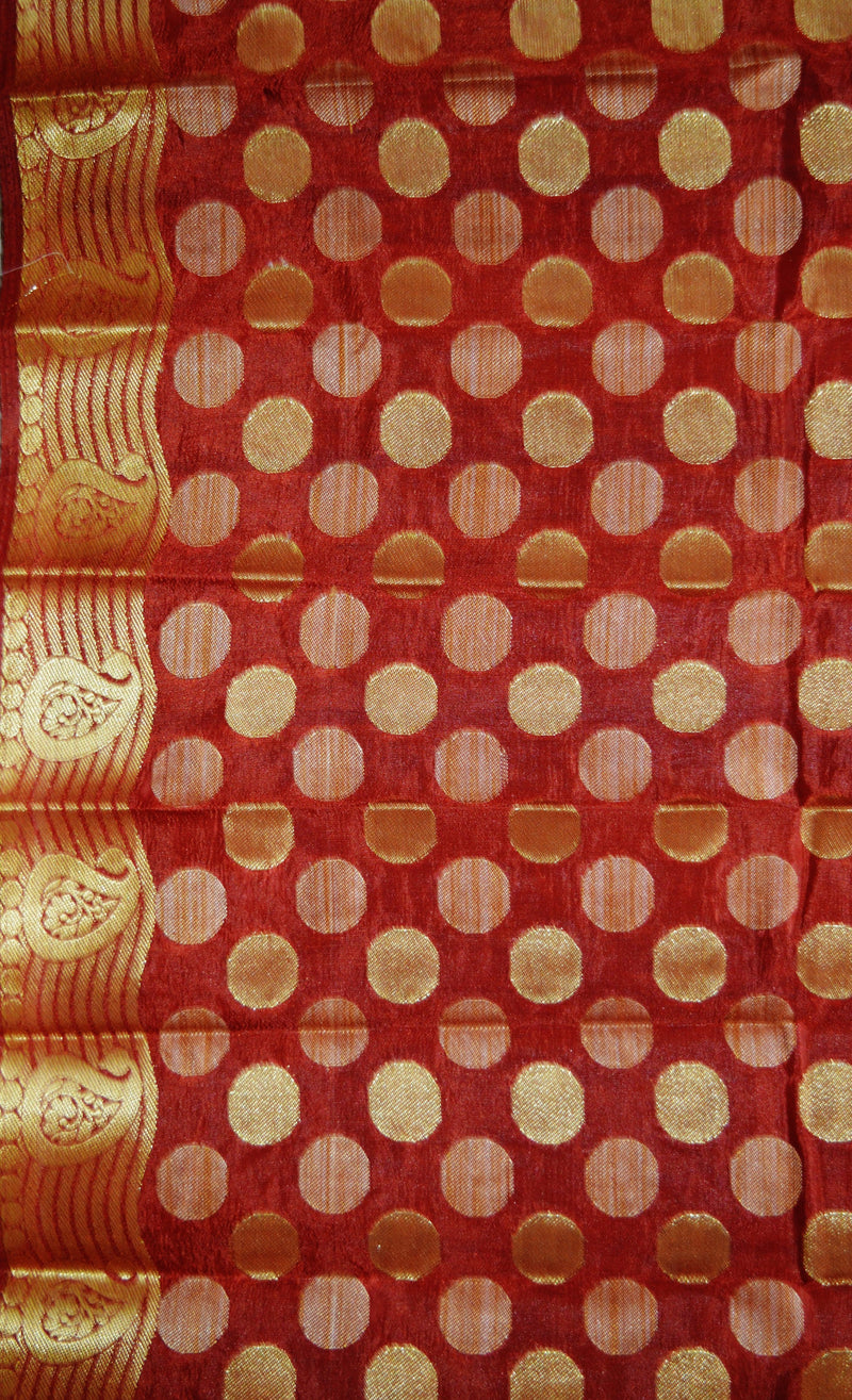 Mustard & Maroon Zari Work Raw Silk Saree