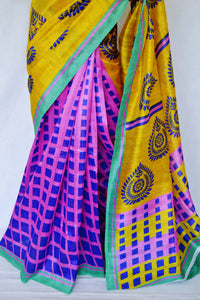 Yellow & Pink Colour Print Work Cotton Mix Silk Saree