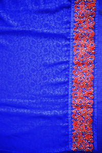 Blue & Red  Stone & Net  Work   Saree