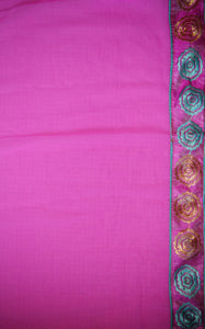 Stunning Pink & White Half And Half Party Saree