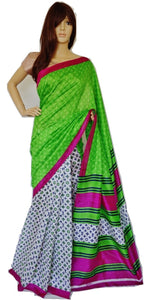 Gorgeous White & Green  Cotton Mix Silk Saree