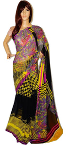 Designer Yellow Colour Half And Half Fancy Saree