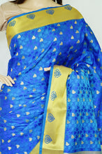 Blue Colour Stone Work Kanchipuram Silk Saree