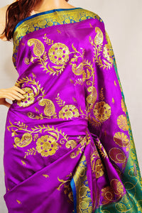 Purple Colour Sequins Work Banaras Silk Saree