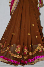 Pretty Brown ,Cream & Pink Colour  Party Saree