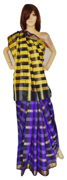 Purple,Black ,Yellow & Gold  Cotton Saree