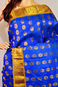 Blue Colour Kanchipuram Silk Saree