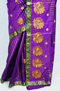 Purple Colour AHMD MP Cotton Mix Silk Saree