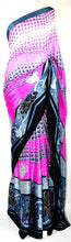 Pink & Grey Turkey3 Star Crepe Silk Saree