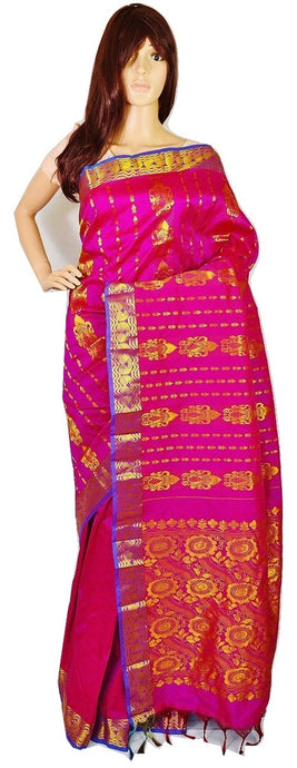 Magenta Colour Kanchipuram Silk Saree