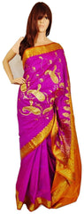 Fuchsia & Mustard Colour Banaras Silk Saree