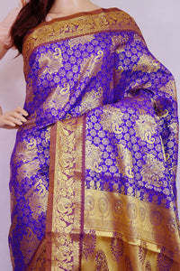 Purple Colour  Kanchipuram Silk Saree With Stones
