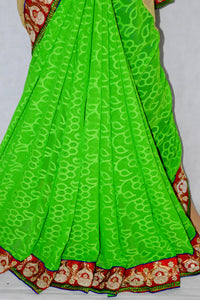 Beige & Green Colour  Saree With Blue Blouse Piece
