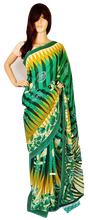 Cream Colour  & Green Extra Express Fancy Saree