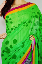 Green & Black Nadhira Half & Half Saree