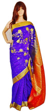 Blue & Orange Colour Stone Work Banaras Silk Saree