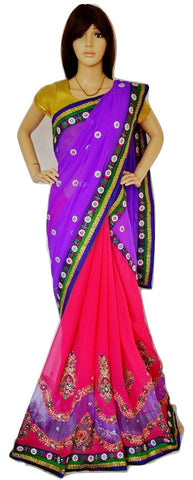 Pleasing Magenta & Purple Colour Party Saree