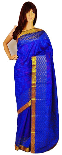 Gold Shaded Blue & Gold Kanchipuram Silk  Saree