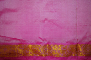 Cream & Pink Kanchipuram Silk Saree