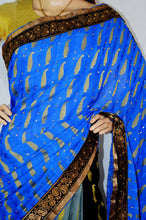 Lovely Blue ,Grey & Black Silk Party Wear Saree