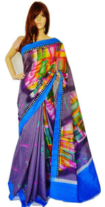 Gorgeous Grey Bhagalpuri 3 Star  Saree