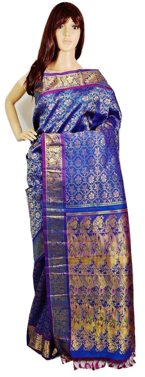 Blue Beautiful Kanchipuram Pattu Silk Saree