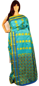 Mint, Blue Colour & Gold Kanchipuram Silk  Saree