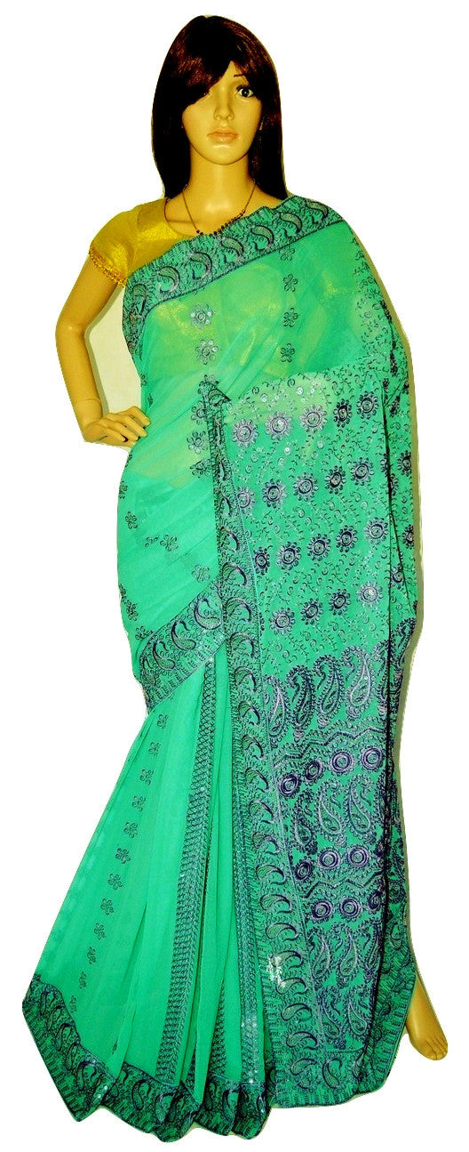 Beautiful Greenberry & Light Purple Colour Party Saree