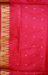 Indigo & Maroon Sequins Work Banaras Silk Saree