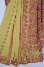 Gorgeous Mustard Colour Party Wear Saree