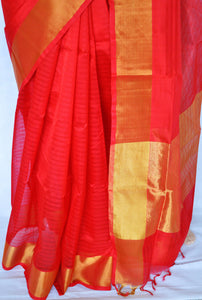 Red  & Gold Kanchipuram Silk Cotton Saree