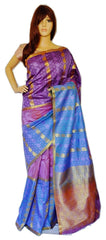 Purple, Blue & Onion Colour Kanchipuram Silk  Saree