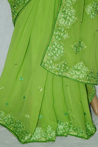 Elegant Bright Green Colour Party Wear Saree